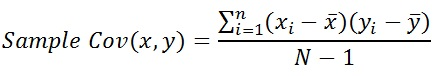 Sample Covariance formula for (x,y)