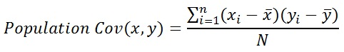 Population Covariance formula for (x,y)
