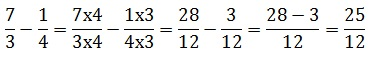How to subtract fractions having different denominators
