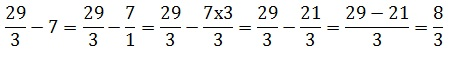How to subtract an integer number from a fraction