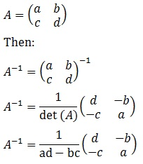 Inverse Matrix of 2x2 Formula