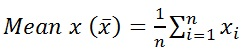 Mean formula for x