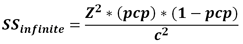 Sample size formula population finite